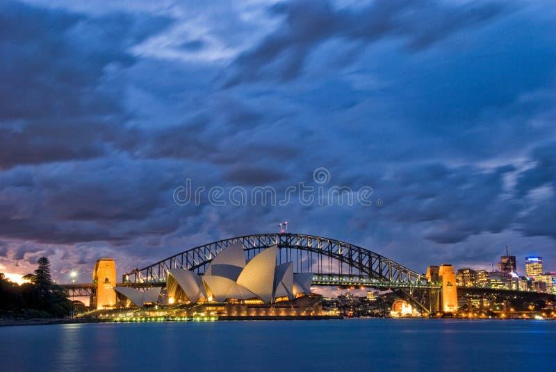 Crepúsculo do porto de Sydney foto de stock