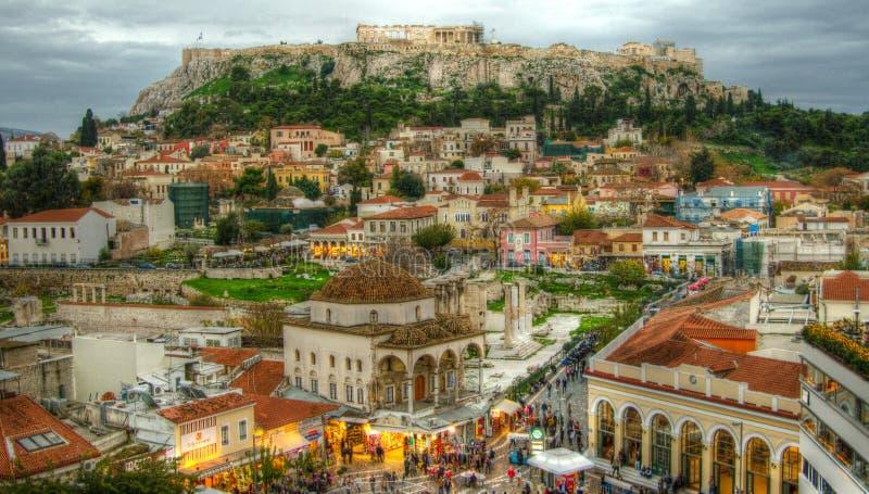 Crepúsculo em Atenas, Grécia fotos de stock