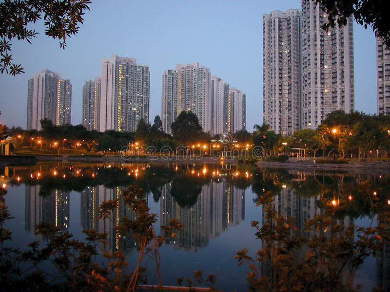 Crepúsculo em Hong Kong foto de stock royalty free
