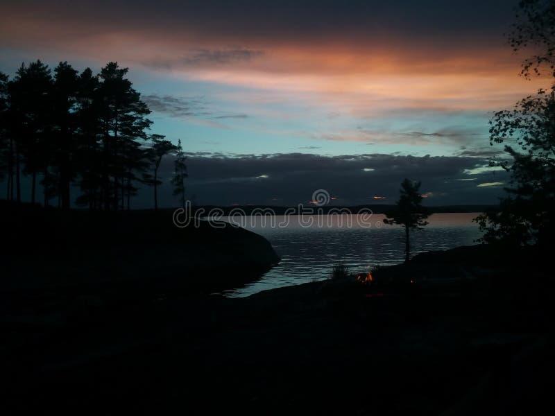 Crepúsculo na Suécia imagem de stock