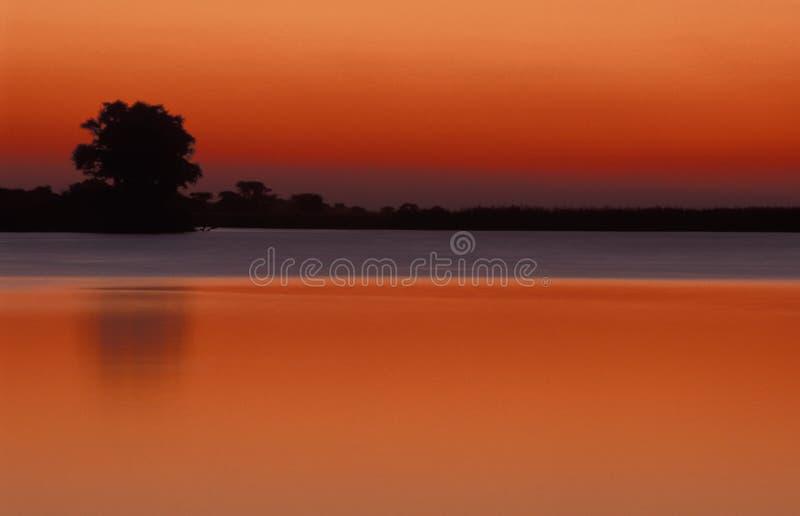 Crepúsculo no rio Chobe, Botswana fotografia de stock