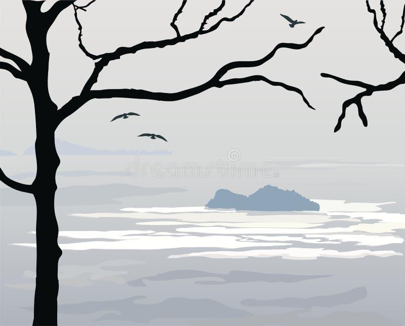Download Crepúsculo sobre o oceano ilustração do vetor. Ilustração de praia - 29828224