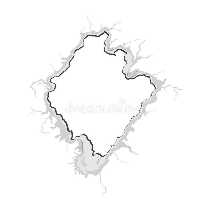 Crepa in parete Illustrazione di vettore Foro nella parete Fondo astratto del foro Foro con le crepe Elemento di progettazione de royalty illustrazione gratis