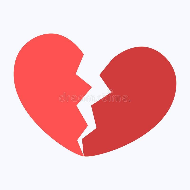 Crepacuore o cuore rotto rosso illustrazione vettoriale