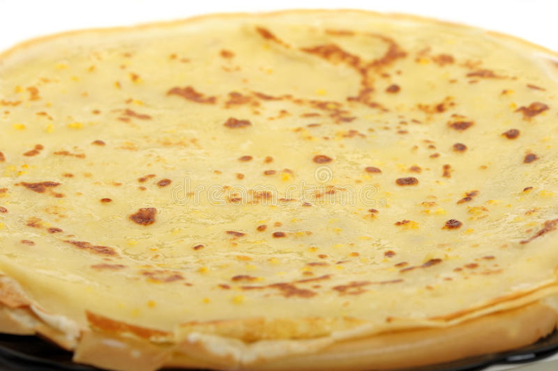 Crepe background. A detailed photo fried thin pancake royalty free stock photography