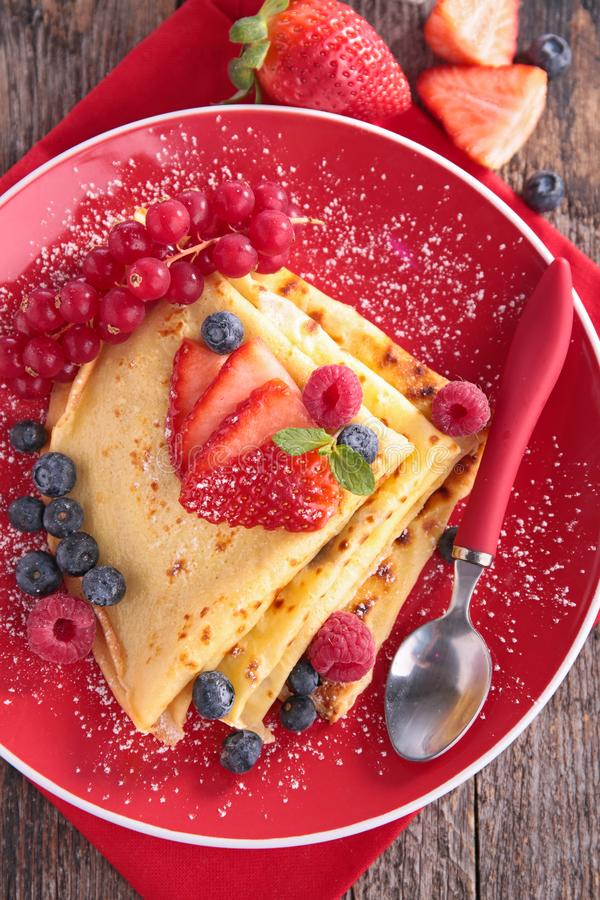 Crepe with berry fruit. Top view stock images