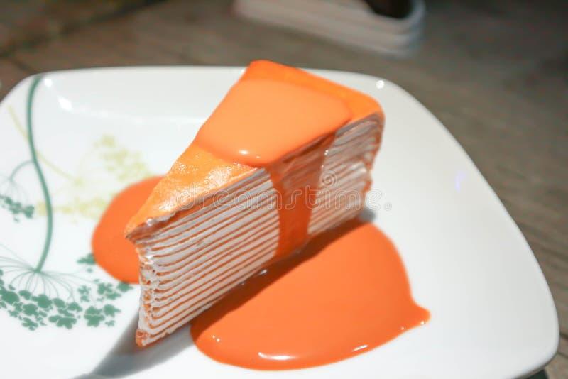 Crepe cake or orange crepe cake royalty free stock photo