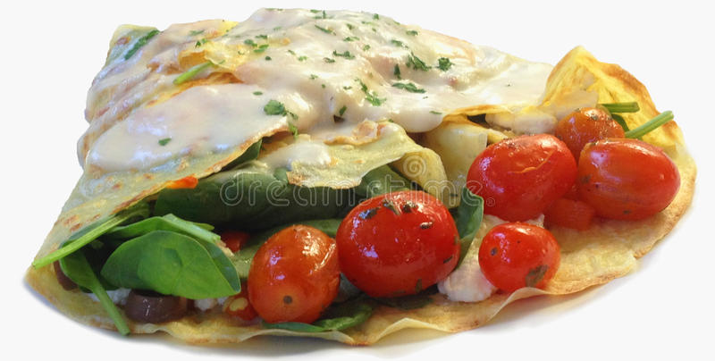 Crepe with cheese and vegetable royalty free stock photos