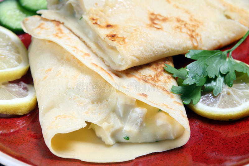 Download Crepe with chicken filling stock image. Image of crepe - 28160485