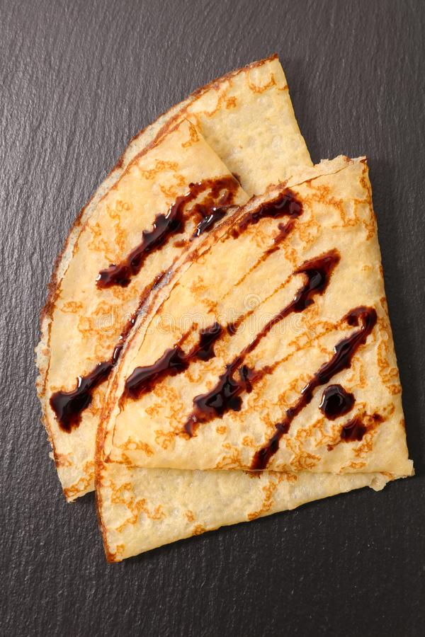 Crepe with chocolate stock images
