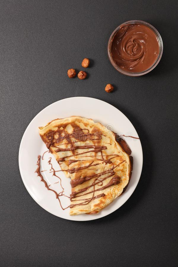 Crepe with chocolate royalty free stock images