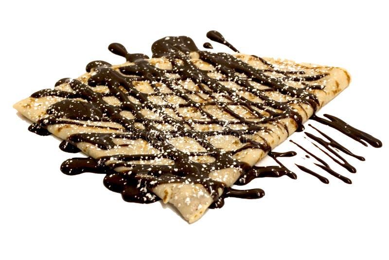 Crepe do chocolate com açúcar fotos de stock