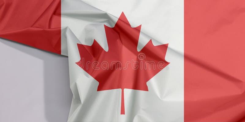 Crepe e vinco da bandeira da tela de Canadá com espaço branco fotos de stock royalty free