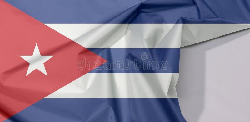 Crepe e vinco da bandeira da tela de Cuba com espaço branco imagem de stock royalty free
