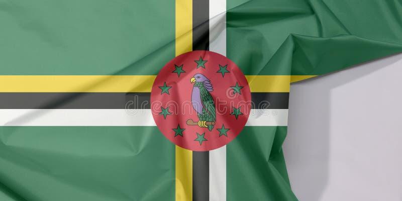 Crepe e vinco da bandeira da tela de Domínica com espaço branco fotografia de stock royalty free