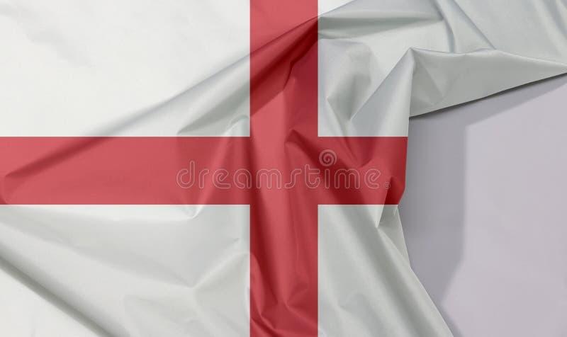 Crepe e vinco da bandeira da tela de Inglaterra com espaço branco fotos de stock royalty free