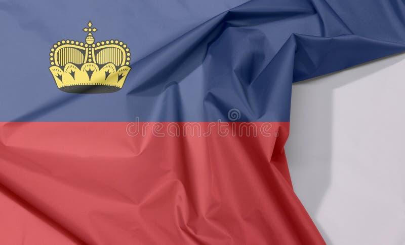 Crepe e vinco da bandeira da tela de Liechtenstein com espaço branco imagem de stock royalty free