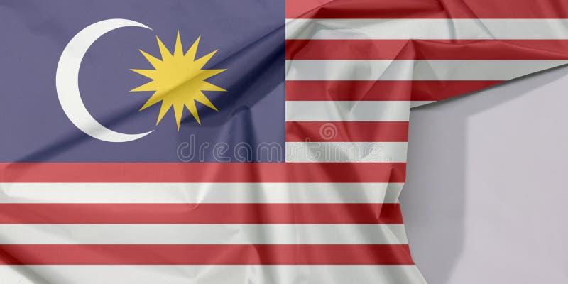 Crepe e vinco da bandeira da tela de Malásia com espaço branco fotos de stock