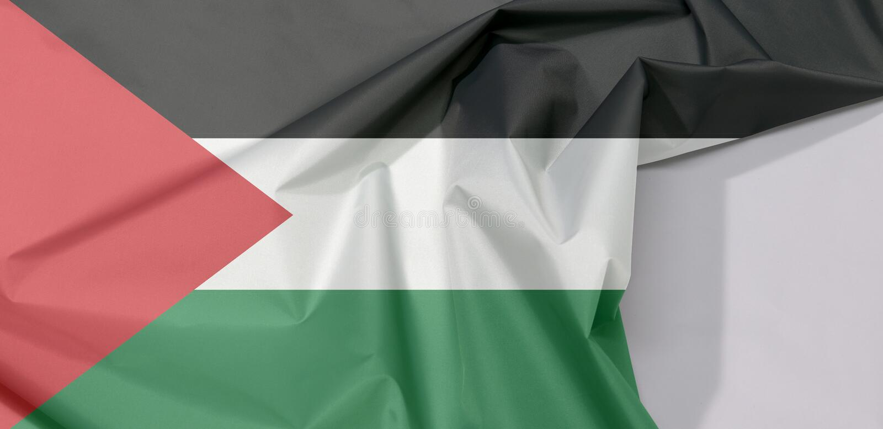 Crepe e vinco da bandeira da tela de Palestina com espaço branco fotos de stock