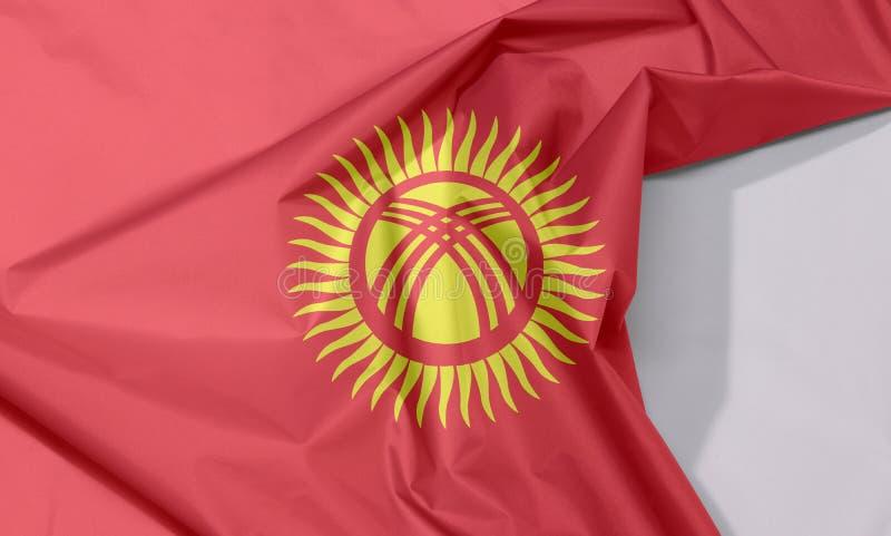 Crepe e vinco da bandeira da tela de Quirguizistão com espaço branco imagem de stock royalty free