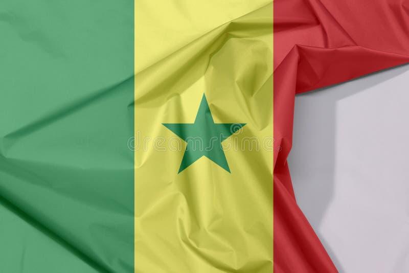 Crepe e vinco da bandeira da tela de Senegal com espaço branco ilustração royalty free