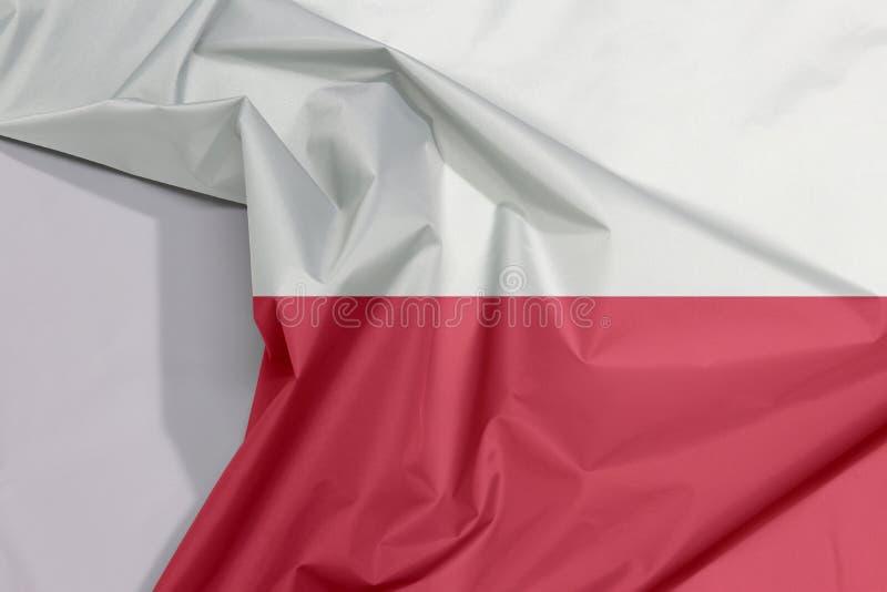 Crepe e vinco da bandeira da tela do Polônia com espaço branco fotos de stock royalty free