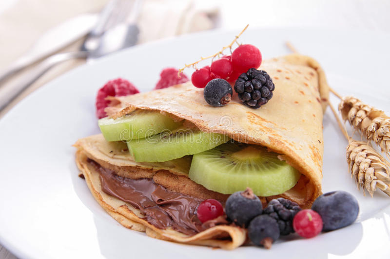 Download Crepe With Fruit And Chocolate Stock Images - Image: 28534834