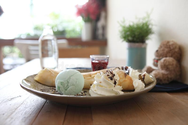 Crepe with ice cream. In close up stock image