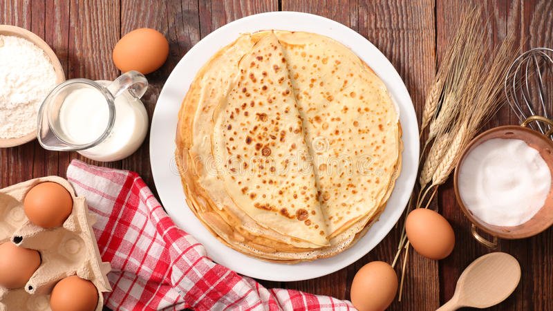 Crepe. With ingredient on wood stock photography