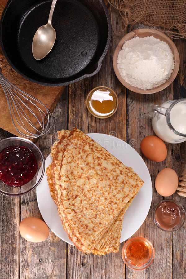 Crepe. With ingredient on wood background royalty free stock photo