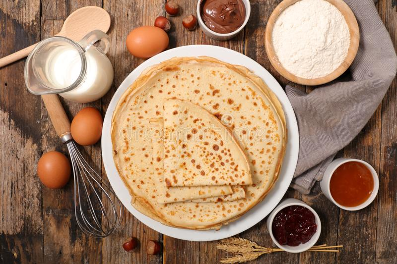Crepe with jam. Top view stock photos