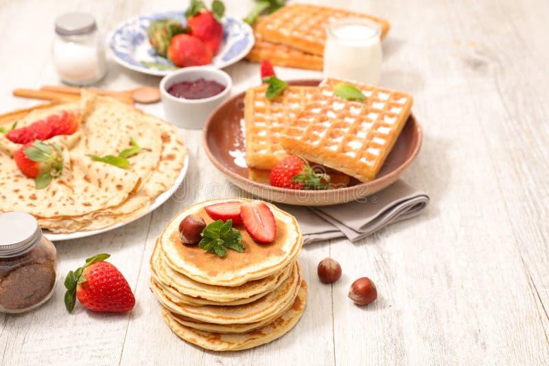 Crepe, pancake and waffle. With fruit royalty free stock image