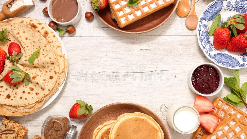 Crepe, pancake and waffle. With fruit royalty free stock images
