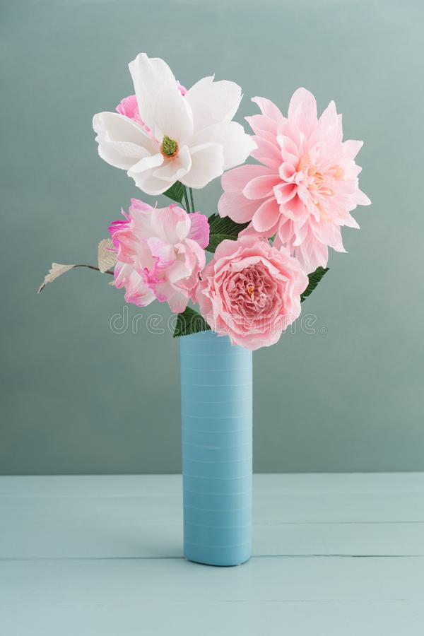 Crepe paper flower bouquet stock photo. Image of white - 111615946