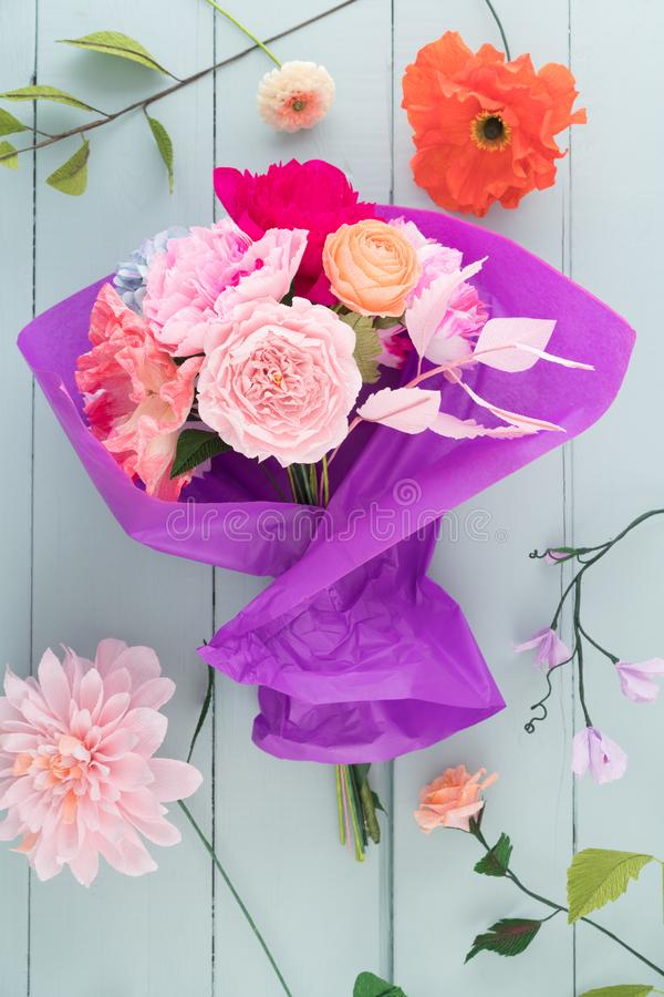 Crepe paper flower bouquet stock photo. Image of roses - 111616148