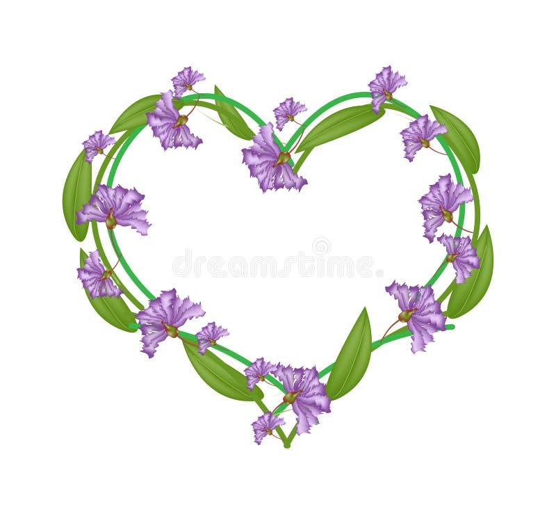 Crepe roxo Myrtle Flowers em uma forma do coração ilustração do vetor