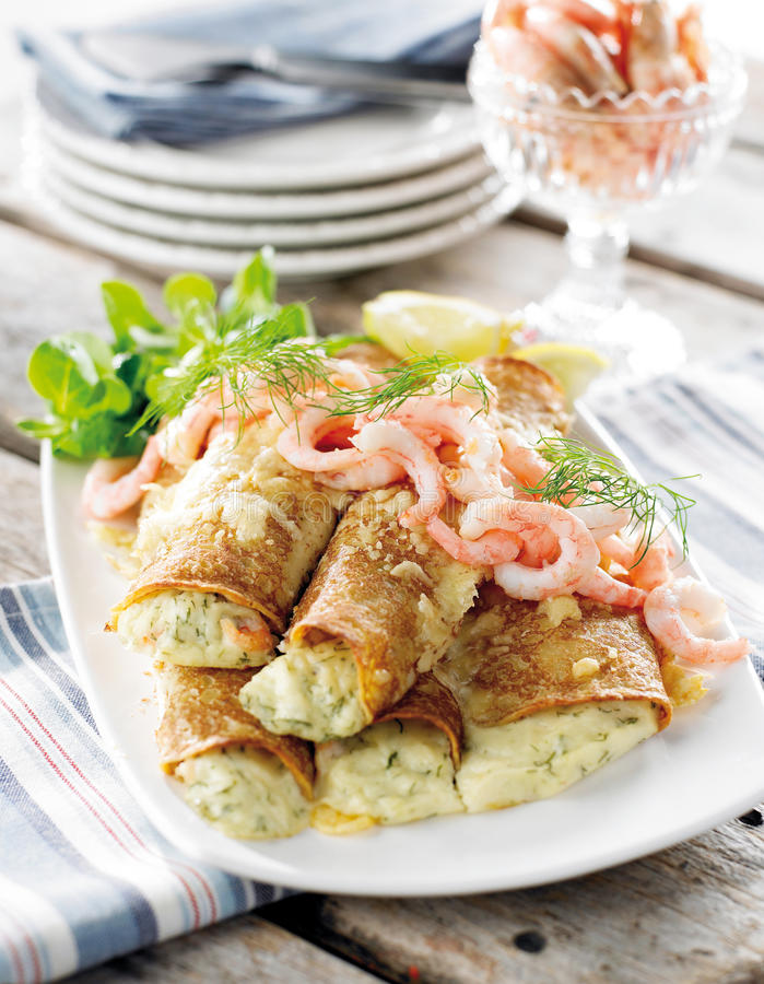 Crepe with shrimps stock photography
