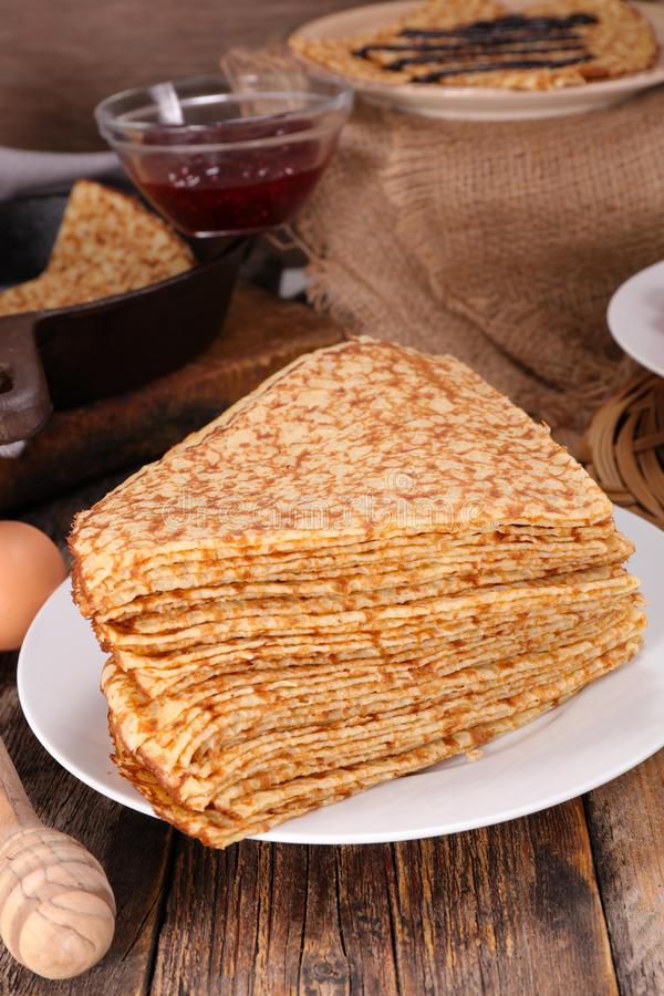 Crepe. Stack of crepe and ingredient royalty free stock image
