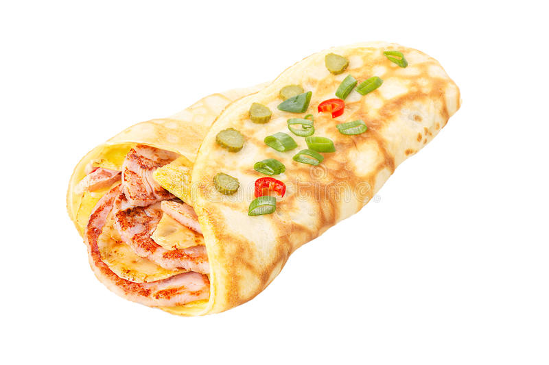 Crepe stuffed with ham and cheese royalty free stock images