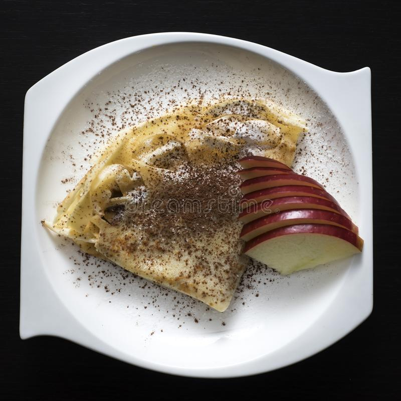Crepe with sugar and fruit stock photography