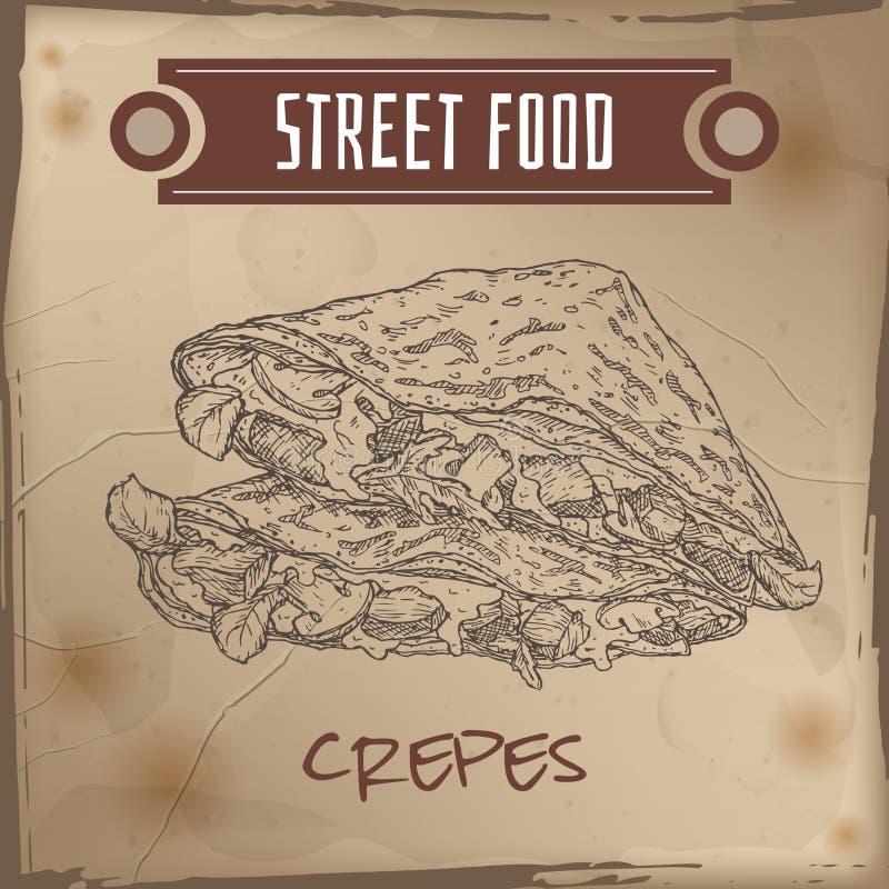 Crepes με το κρέας, το τυρί και τα μανιτάρια σκίτσο στο υπόβαθρο grunge ελεύθερη απεικόνιση δικαιώματος