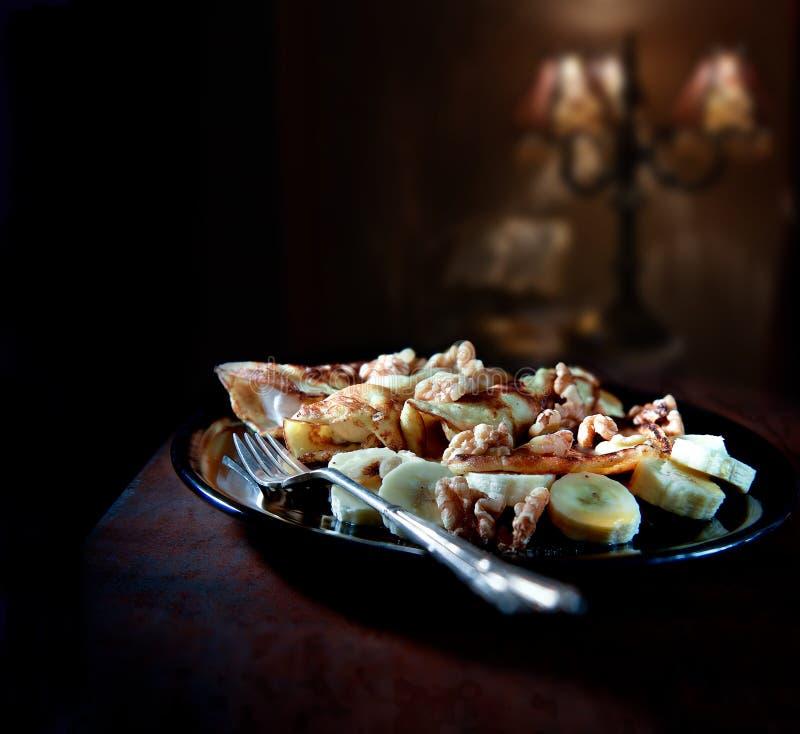 Crepes With Banana And Walnuts royalty free stock photo