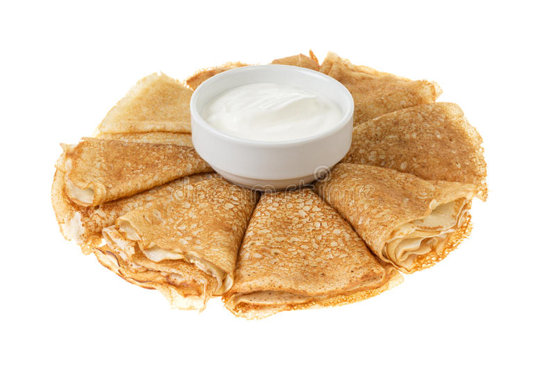 Crepes With Cour Cream Royalty Free Stock Photos