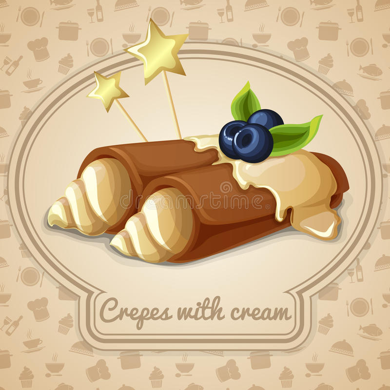 Crepes with cream emblem. Crepes with cream dessert bakery emblem and food cooking icons on background vector illustration royalty free illustration