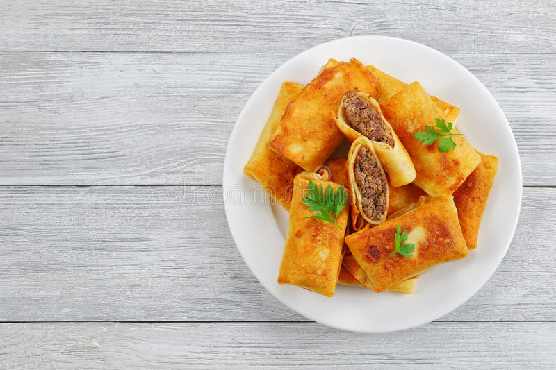 Crepes filled with minced Meat and liver royalty free stock image