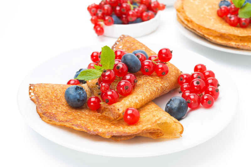 Crepes with fresh berries for breakfast, isolated stock image