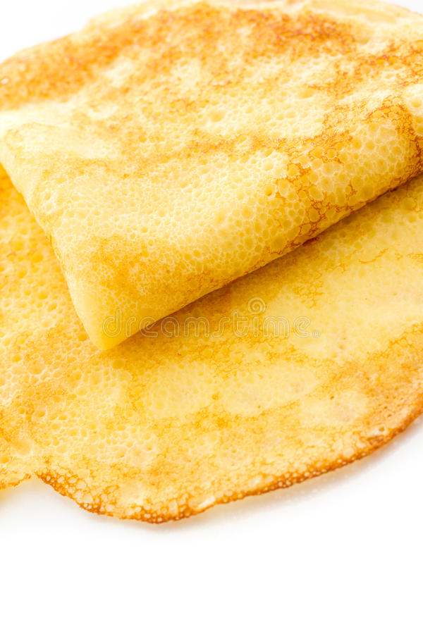 Crepes. Freshly homemade crepes on a white background stock photography