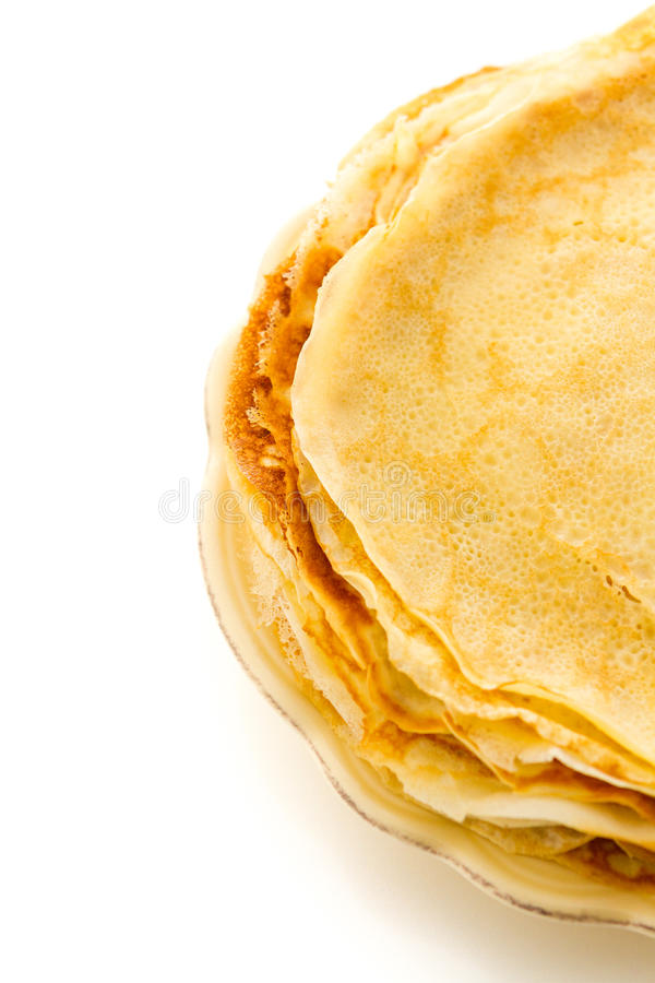 Crepes. Freshly homemade crepes on a white background royalty free stock photos