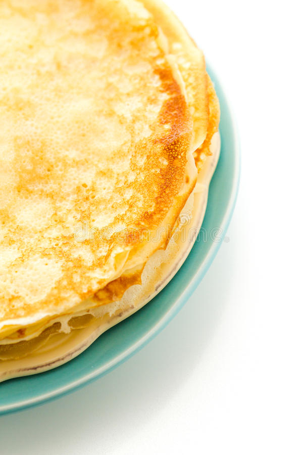 Crepes. Freshly homemade crepes on a white background stock images