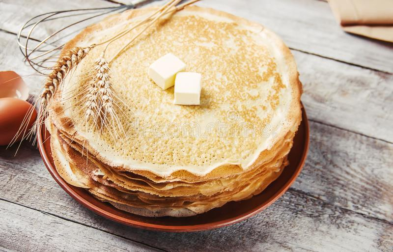 Crepes are homemade. Pancakes. Selective focus stock photography